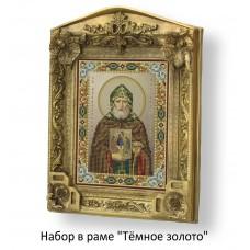 Набор в раме с бисером - икона - Св. Александр Свирский